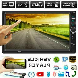 "12V Car Radio 2 Din HD 7"" Touch Screen Stereo Bluetooth FM A"