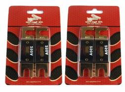 2 Pair 250 Amp ANL Fuses Gold Plated Audiopipe Car Audio Ste