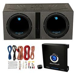 "2) Planet Audio 12"" 1800W Subwoofers + Vented Lined Box Encl"