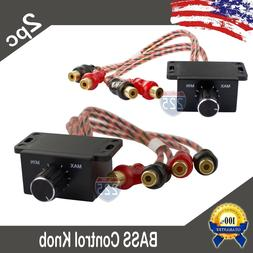 2) Universal Car Audio Amplifier Bass Boost RCA Level Remote