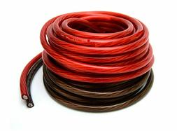 50' ft 4 Gauge 25' RED and 25' Black Car Audio Power Ground