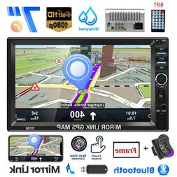 """7"""" Double 2DIN Car Stereo Radio Bluetooth Touch Screen Mirro"""