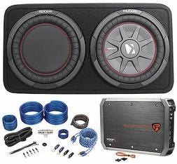 """Package: Kicker 43TCWRT104 800W 10"""" Shallow Subwoofer Factor"""