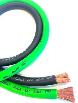 20 ft CCA 1/0 Gauge Oversized 10' Green & 10' Black Power Gr