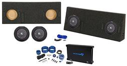 "Dual 10"" Kicker Subwoofers+Sub Box+Amp+Wire Kit for 14-17 To"