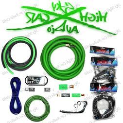 Sky High Car Audio Green 1/0 AWG to Dual 4 Gauge Complete Am