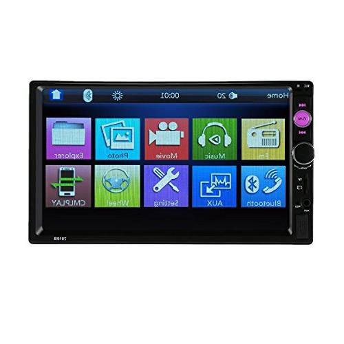 CARED 7inch Player,Touch Screen,Universal Double Car Audio,Bluetooth Car Receiver,Steering Monitor, Rear View Remote