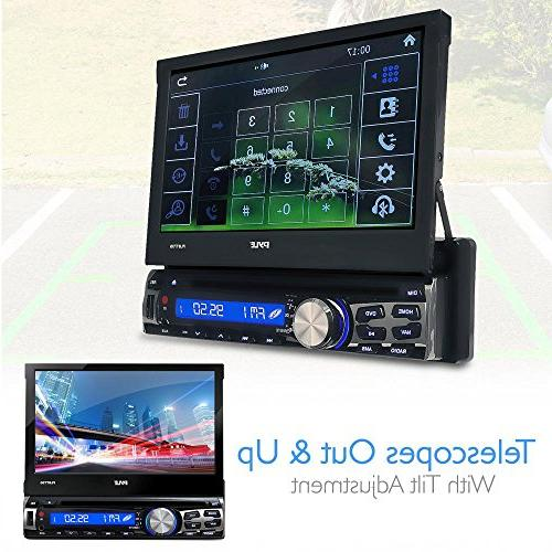 Single DVD Bluetooth Stereo Screen Headunit Receiver Built-In Hands-Free -AM/FM Radio System - Pyle