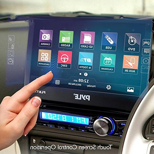 Single Din Bluetooth Car Stereo Touch Receiver Built-In Hands-Free Call Answering -AM/FM Radio CD/DVD System Pyle PLBT73