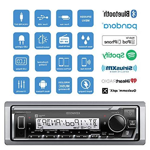 Kenwood In-Dash Marine Audio with Black Waterproof Cover Bundle with Enrock RCA Interface Radio Antenna Mast