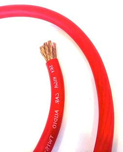 5 ft OFC 1/0 Gauge Oversized RED Power Ground Wire Sky High