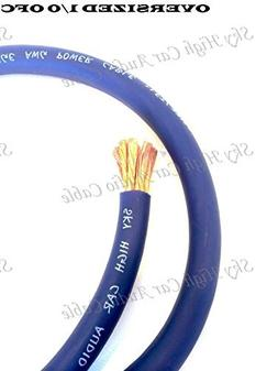 5 ft OFC 1/0 Gauge Oversized Blue Power Ground Wire Sky High