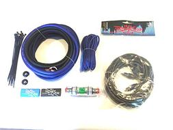 Oversized 8 Ga CCA AWG Amp Kit Twisted RCA Blue Black Comple