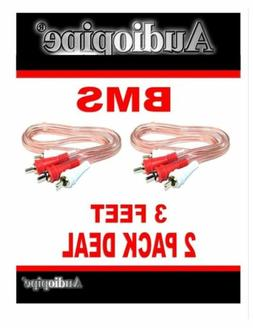 RCA 3FT Cable Audiopipe X 2 Pack Stereo Patch Cables Car Aud