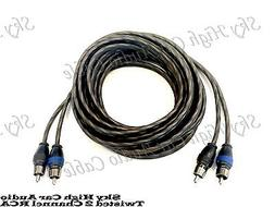 Sky High Car Audio 2 Channel Twisted 18 ft RCA Cables Coated